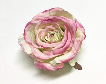 Silk Flowers - One Jumbo Artificial Pink Cream Green Cabbage Rose - Artificial Flowers, Silk Flower
