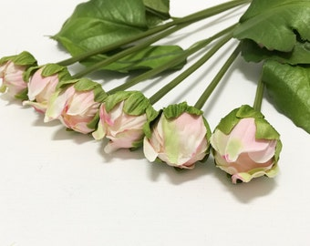 6 PINK Dahlia Buds on Short Stems - Artificial Flowers, Silk Flowers, Wedding Bouquet, Flower Crown