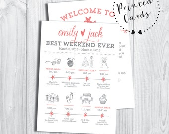 Printed Destination Wedding Icon Itinerary with Welcome Letter (SET OF 25)