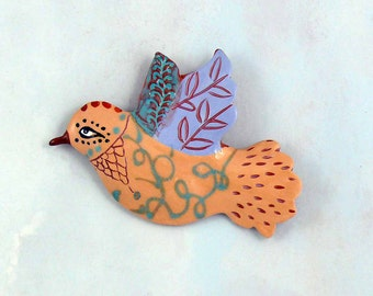 Ceramic Wall Bird, Hand Made Pottery Bird by Cathy Kiffney