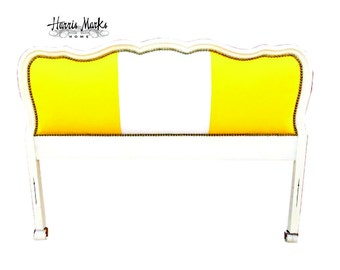 Vintage Upholstered French Headboard Cabana Stripe BY CUSTOM ORDER
