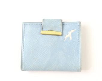 VINTAGE Blue Wallet Bird 1970s Vinyl