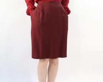 VINTAGE Pencil Skirt Oxblood Dark Red Silk Pockets Medium