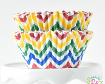 Chevron Circus BakeBright GREASEPROOF Baking Cups Cupcake Liners | ~30 count