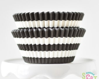 Rugby Stripe Black BakeBright GREASEPROOF Baking Cups Cupcake Liners | ~30