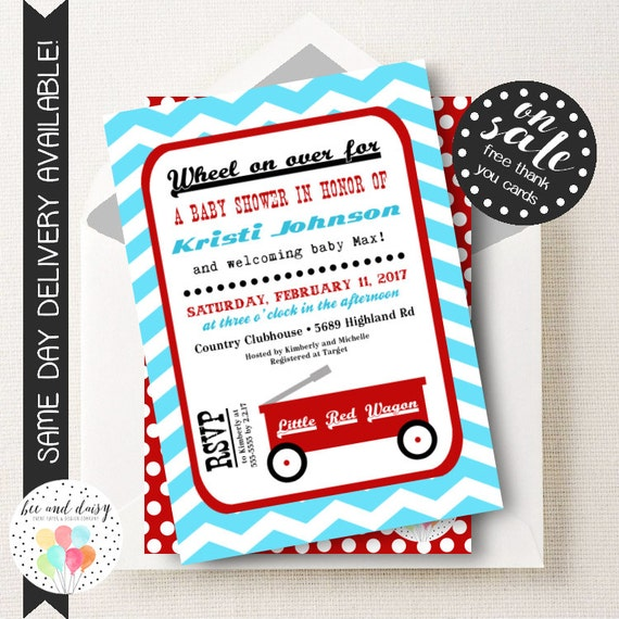 Little Red Wagon Baby Shower Invitation, Red Wagon Invitation, Red Wagon Party Invitation, Little Red Wagon Printable Invite