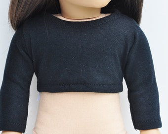 AG Doll Clothes - Long Sleeved Crop Tee, Black, Crop Top, T-Shirt, 18 inch Doll