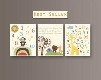 Baby Room Art, Nursery Wall Art, Children Artwork, Set of 3 prints, Jungle Friends Nursery, Yellow, Blue, Green, Orange, Safari Nursery ABC