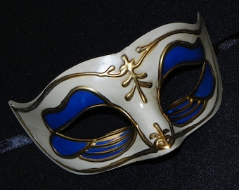 Royal Blue, Gold and Off White Venetian Mask