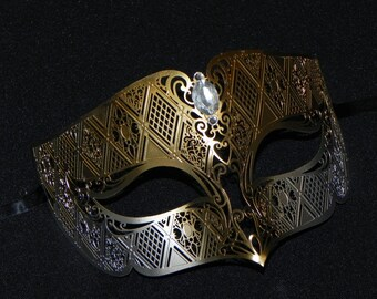 Gold and Silver Venetian Style Metal Masquerade Mask - Men's Mask - Unisex Metal Mask
