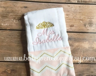 Personalized Boutique Style Burp Cloth - Pink and Gold Chevron - Princess