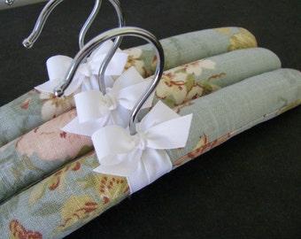 Children's Hangers, Floral Linen Hangers, Organic Ribbon, Baby Accessories, Baby Shower Gift,  Set of 3 Girl Hangers