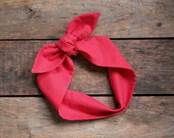 red and white polka dot headscarf, retro tie up headband adjustable, summer fall fashion, knotted headband, stocking stuffer, under 15