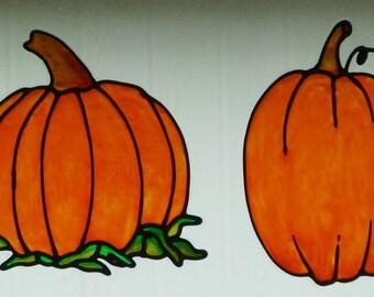 2 Pumpkins window cling, sun catcher