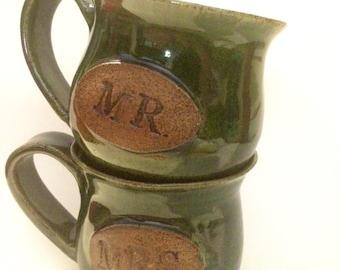 Mr. and Mrs. Couple Coffee Mugs inGreen