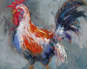 """Rooster Oil Painting Portrait, Rooster Painting, Original Oil Painting, Small Painting, Miniature Mini Painting, 6""""X6"""", Farm Animal, For Her"""