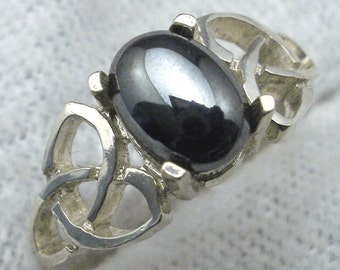 Celtic Triskel Ring, Natural black Hematite cabochon, hand crafted recycled sterling silver, handmade Celtic knot ring