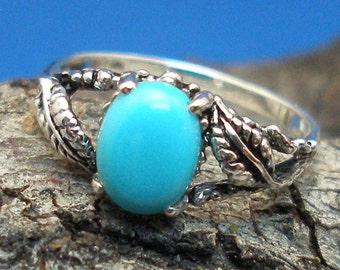 Turquoise Leaf Ring, Hand Crafted Recycled Sterling Silver, December Birthstone, handmade European Beech tree leaves, Robin Egg Blue