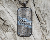 Micro Mosaic, Metal, Glass And Bead Pendant with Chain