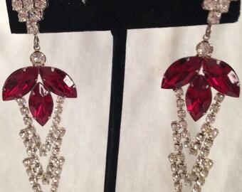 Rhinestone Earrings // Red Rhinestone // Drop // Pierced