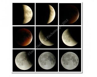 Lunar Eclipse Blood Moon 2015 Collage of Nine Phases on the Lunar Eclipse Wall Art Home Decor Digital Download Fine Art Photography