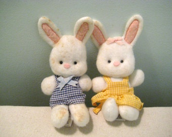 Vintage Hallmark Easter Bunnies Boy Bunny And Girl Bunny