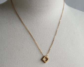 Simple Geometry - Square Geometric Brass Necklace