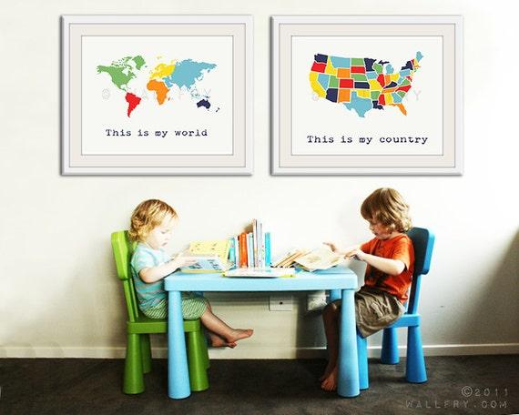 Large World Map Print Set Of 2 Map Prints Usa Map And World