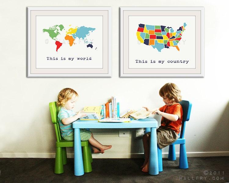Large world map print SET OF 2 map prints. USA map and world