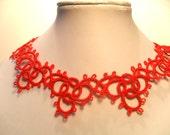 Choker Necklace Lace Red Victorian Bohemian Gothic - Frivolite Bijoux
