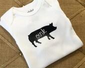 Pig, Onesie, bodysuit, farm, animal, children clothing, baby, tops,shirt