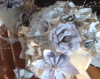 Sheet Music Wedding Suite Includes Bridal and Bridesmaid Bouquets and Two Lapel Flowers Vintage Style