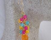 Memorial Day Sale Gemstone Cluster Dangle Earrings Jade and Orange Chalcedony Gemstone Waterfall Earrings Exotic Color Earrings