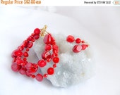 Columbus Day Sale Multi Strand Coral Cuff Bracelet Earring Set Red Bamboo Coral Beaded Cuff Bracelet