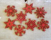Large Red Wood Snowflake Ornaments Christmas Tree Ornaments Red Snowflakes