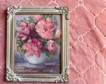 Vintage regency era shabby chic oil or acrylic painting of roses