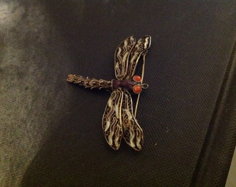 Vintage chinese export silver and enamel filigree dragonfly brooch
