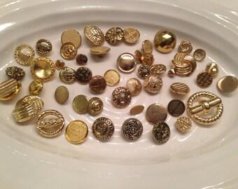 Shank Buttons - 50 assorted gold shank buttons
