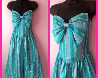 Vintage 1980s Strapless Pastel Green Purple Blue Stripes Big Bow Party Dress