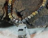 "Gray brown Chinese writing jasper necklace 18"" long reversible pendant Chohua jasper semiprecious stone jewelry gift bag 11691"