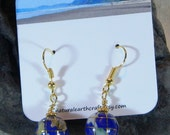 Inlaid blue lapis gemstone Earth earrings semiprecious stone jewelry world globe packaged in a colorful gift bag 3045 C D F