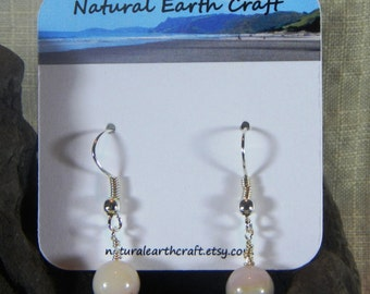 Pink Peruvian opal earrings pastel pink opal round beads semiprecious stone jewelry packaged in a gift bag 2980 B C