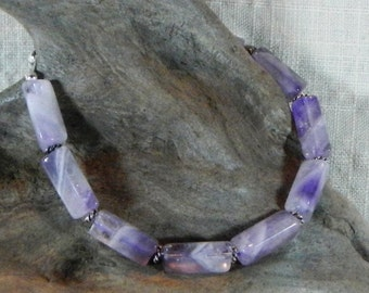 """Purple amethyst bracelet 8.25"""" long lobster clasp rectangle semiprecious stone jewelry February birthstone in a gift bag 11883"""