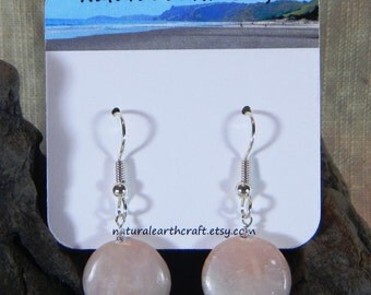 Medium pink Peruvian opal earrings pastel circle opal beads semiprecious stone jewelry packaged in a gift bag 3070 A