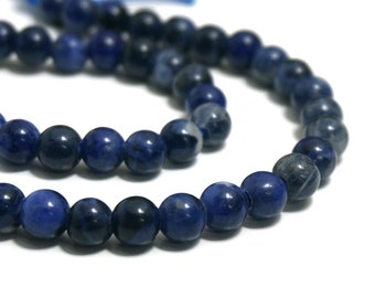 8mm LARGE HOLE Sodalite beads, round natural blue gemstone bead with 2.5mm hole, 8 inch strand   (1219S)
