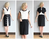 1940s Dress // Har Mar Dress & Jacket // vintage 40s black and white dress