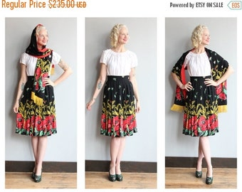 20% Sale 1940s Skirt Set // Neverland Rose Skirt & Shawl // vintage 40s rayon skirt