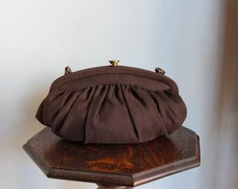 1940s Purse // Brown Wool Purse // vintage 40s handbag