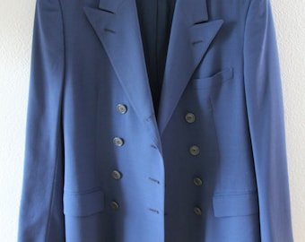 Ralph Lauren Collection Blue Double Breasted Blazer 1980s to 1990s Designer Aegean Spruce