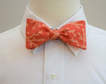 Men's Bow Tie in coral with coral reef design (self-tie)